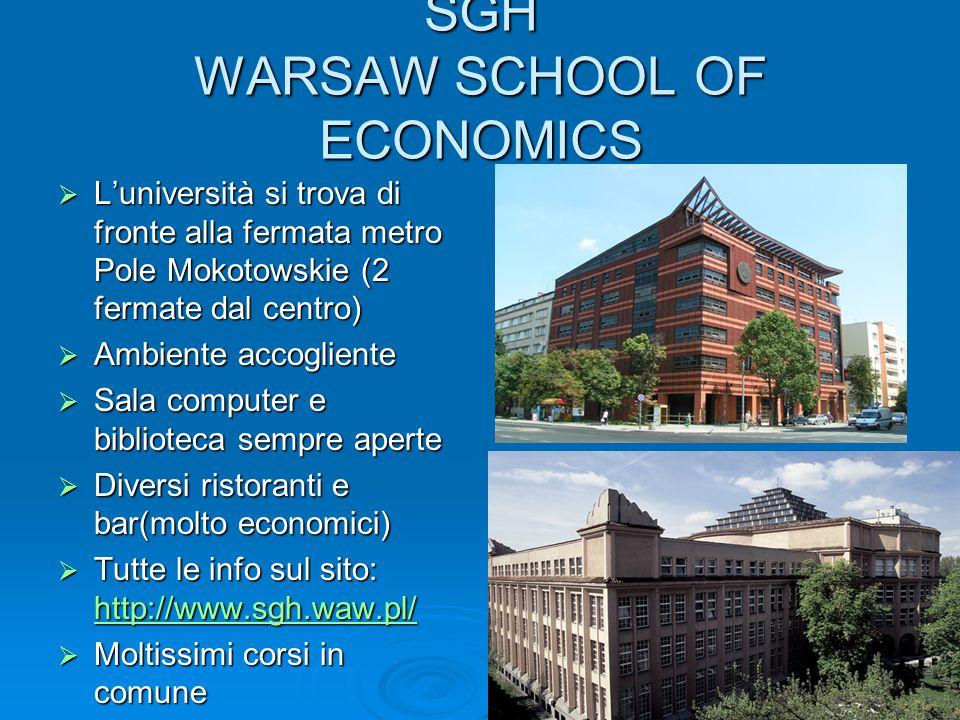 SGH WARSAW SCHOOL OF ECONOMICS  L'università si trova di fronte alla fermata metro Pole Mokotowskie (2 fermate dal centro)  Ambiente accogliente  S