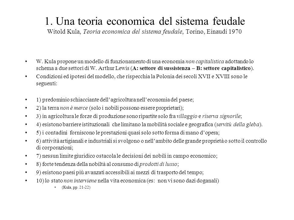 1. Una teoria economica del sistema feudale Witold Kula, Teoria economica del sistema feudale, Torino, Einaudi 1970 W. Kula propone un modello di funz