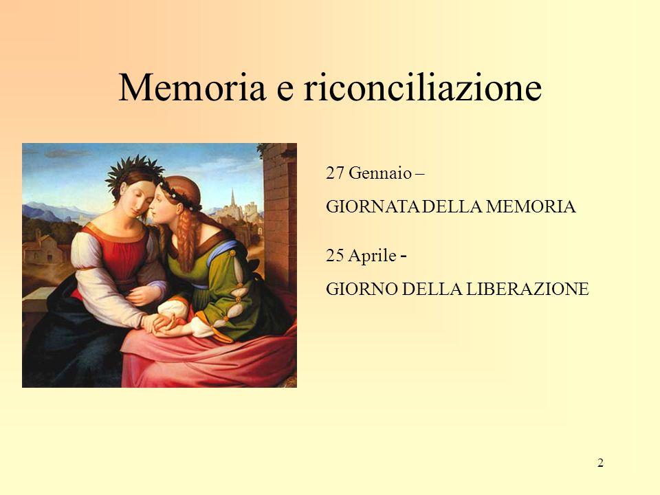 Memoria e riconciliazione 27 Gennaio – GIORNATA DELLA MEMORIA 25 Aprile - GIORNO DELLA LIBERAZIONE 2