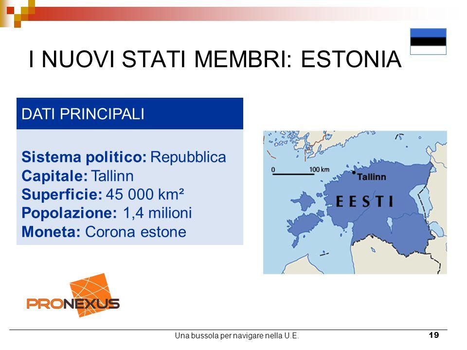 Una bussola per navigare nella U.E.19 I NUOVI STATI MEMBRI: ESTONIA DATI PRINCIPALI Sistema politico: Repubblica Capitale: Tallinn Superficie: 45 000