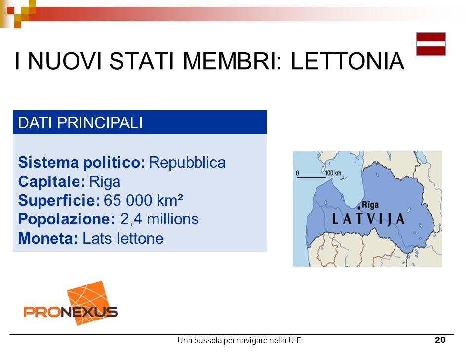 Una bussola per navigare nella U.E.20 I NUOVI STATI MEMBRI: LETTONIA DATI PRINCIPALI Sistema politico: Repubblica Capitale: Riga Superficie: 65 000 km