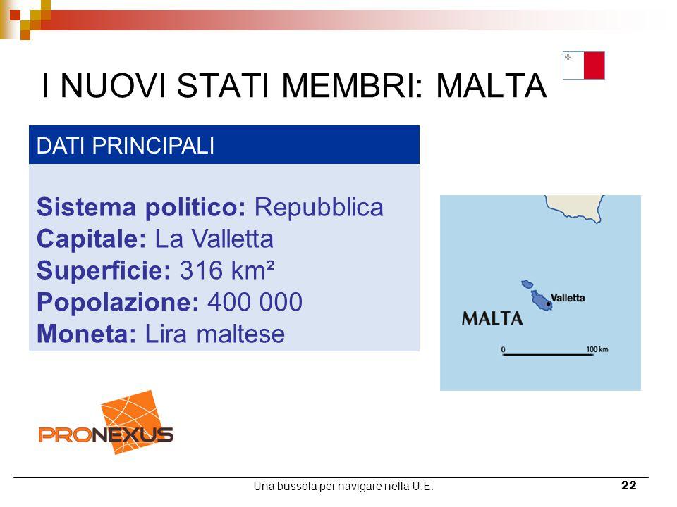 Una bussola per navigare nella U.E.22 I NUOVI STATI MEMBRI: MALTA DATI PRINCIPALI Sistema politico: Repubblica Capitale: La Valletta Superficie: 316 k
