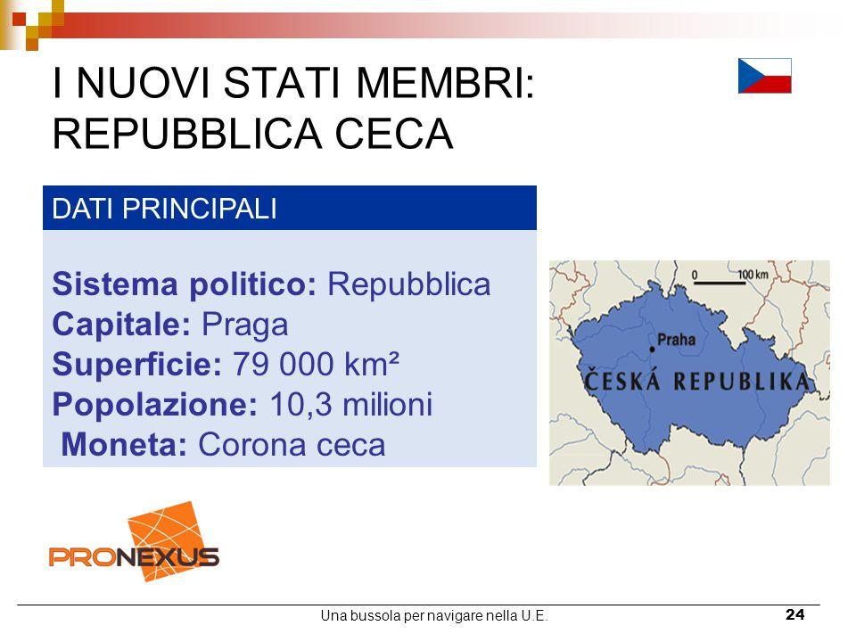 Una bussola per navigare nella U.E.24 I NUOVI STATI MEMBRI: REPUBBLICA CECA DATI PRINCIPALI Sistema politico: Repubblica Capitale: Praga Superficie: 7