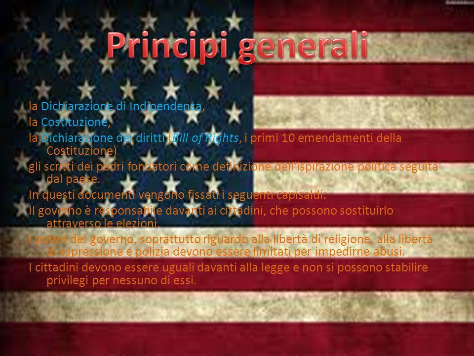 la Dichiarazione di Indipendenza, la Costituzione, la Dichiarazione dei diritti (Bill of Rights, i primi 10 emendamenti della Costituzione) gli scritti dei padri fondatori come definizione dell ispirazione politica seguita dal paese.