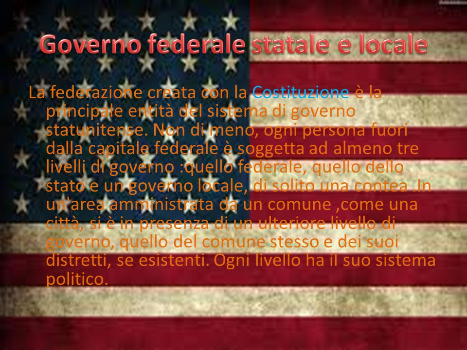 La federazione creata con la Costituzione è la principale entità del sistema di governo statunitense.