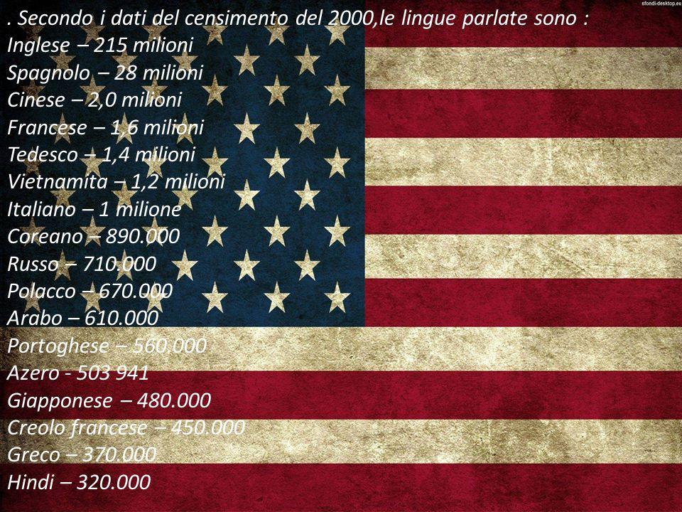 . Secondo i dati del censimento del 2000,le lingue parlate sono : Inglese – 215 milioni Spagnolo – 28 milioni Cinese – 2,0 milioni Francese – 1,6 milioni Tedesco – 1,4 milioni Vietnamita – 1,2 milioni Italiano – 1 milione Coreano – 890.000 Russo – 710.000 Polacco – 670.000 Arabo – 610.000 Portoghese – 560.000 Azero - 503 941 Giapponese – 480.000 Creolo francese – 450.000 Greco – 370.000 Hindi – 320.000