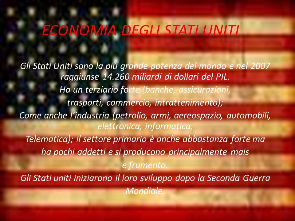ECONOMIA DEGLI STATI UNITI Gli Stati Uniti sono la più grande potenza del mondo e nel 2007 raggiunse 14.260 miliardi di dollari del PIL.