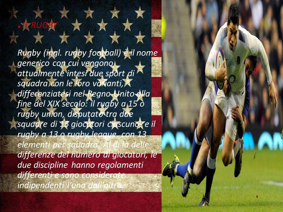 . IL RUGBY Rugby (ingl. rugby football) è il nome generico con cui vengono attualmente intesi due sport di squadra con le loro varianti, differenziate