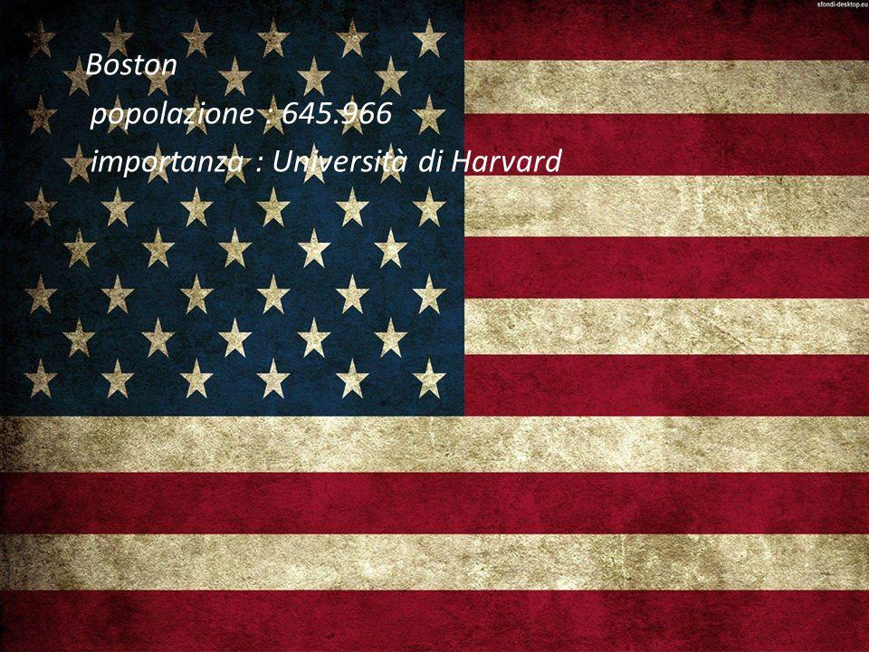 Boston popolazione : 645.966 importanza : Università di Harvard