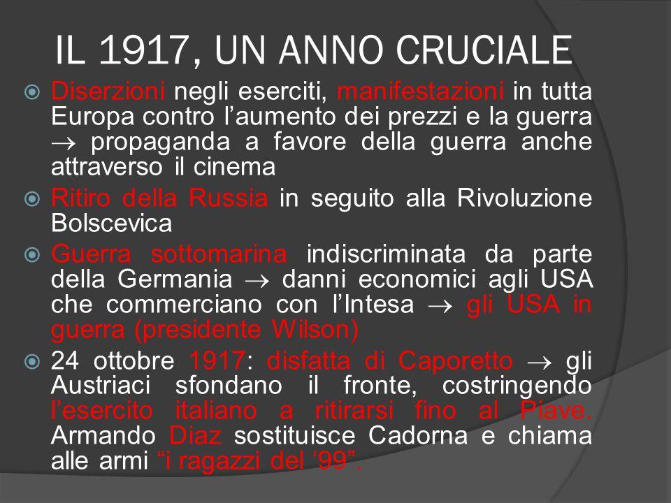 IL 1917, UN ANNO CRUCIALE  Diserzioni negli eserciti, manifestazioni in tutta Europa contro l'aumento dei prezzi e la guerra  propaganda a favore de