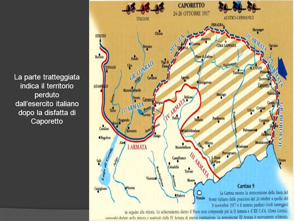 La parte tratteggiata indica il territorio perduto dall'esercito italiano dopo la disfatta di Caporetto