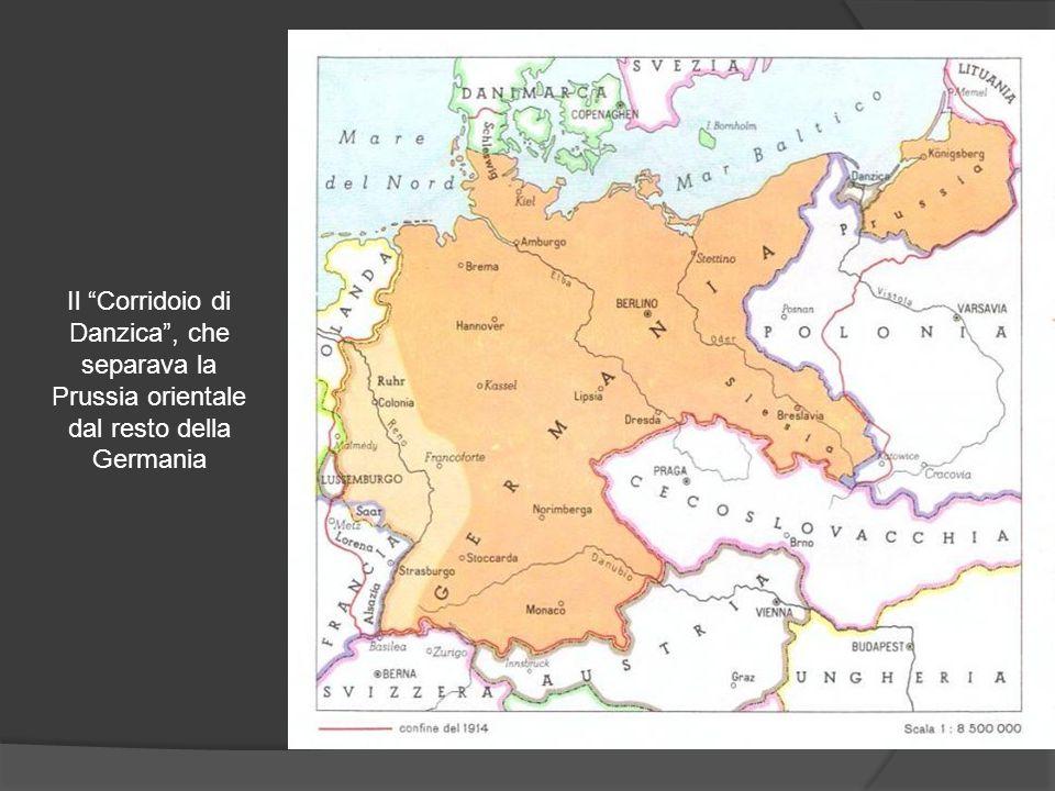 """Il """"Corridoio di Danzica"""", che separava la Prussia orientale dal resto della Germania"""