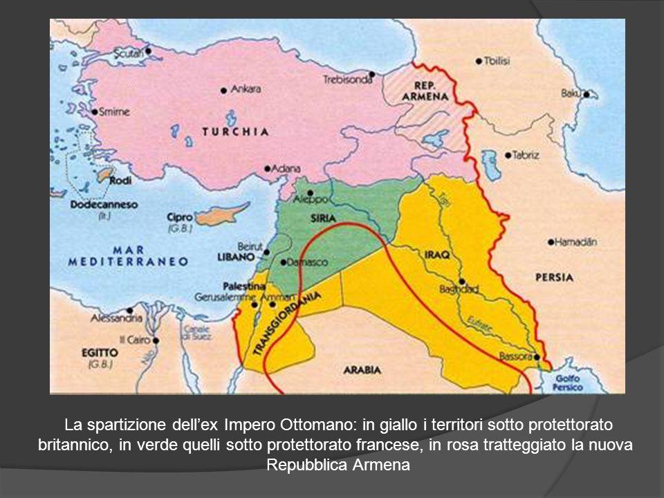 La spartizione dell'ex Impero Ottomano: in giallo i territori sotto protettorato britannico, in verde quelli sotto protettorato francese, in rosa trat