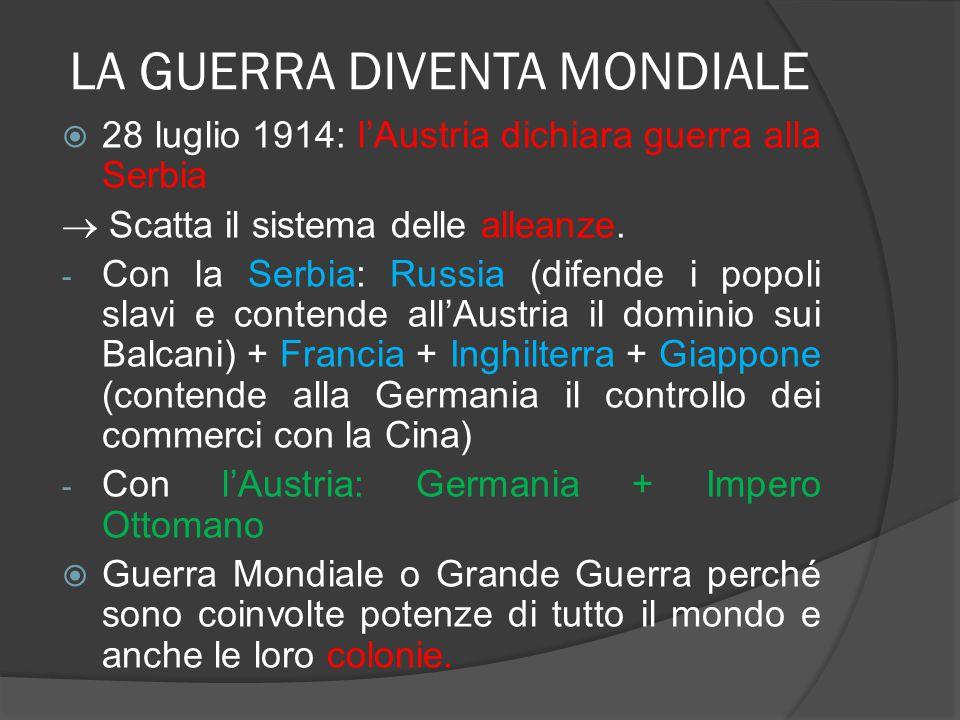 LA GUERRA DIVENTA MONDIALE  28 luglio 1914: l'Austria dichiara guerra alla Serbia  Scatta il sistema delle alleanze. - Con la Serbia: Russia (difend
