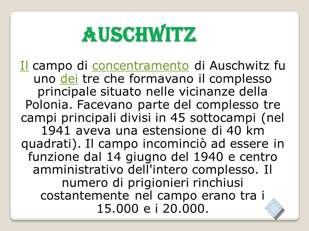 AUSCHWITZ IlIl campo di concentramento di Auschwitz fu uno dei tre che formavano il complesso principale situato nelle vicinanze della Polonia.
