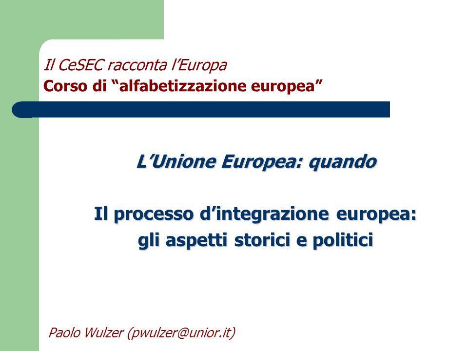 Il CeSEC racconta l'Europa Corso di alfabetizzazione europea L'Unione Europea: quando Il processo d'integrazione europea: gli aspetti storici e politici Paolo Wulzer (pwulzer@unior.it)