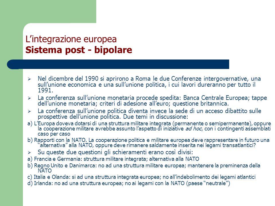  Nel dicembre del 1990 si aprirono a Roma le due Conferenze intergovernative, una sull'unione economica e una sull'unione politica, i cui lavori dureranno per tutto il 1991.