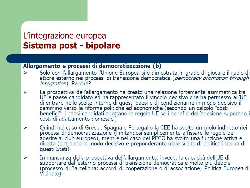Allargamento e processi di democratizzazione (b)  Solo con l'allargamento l'Unione Europea si è dimostrata in grado di giocare il ruolo di attore esterno nei processi di transizione democratica (democracy promotion through integration).