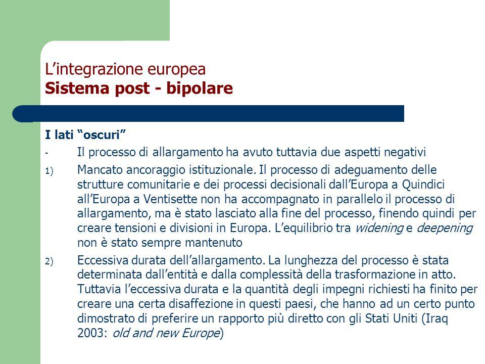 I lati oscuri - Il processo di allargamento ha avuto tuttavia due aspetti negativi 1) Mancato ancoraggio istituzionale.