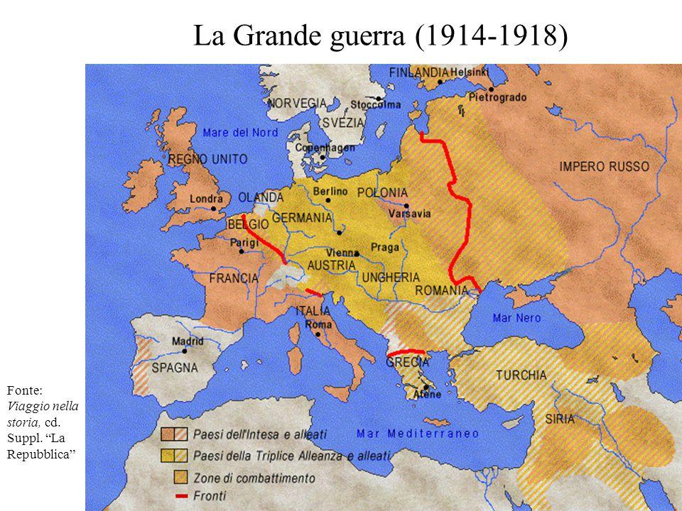 """La Grande guerra (1914-1918) Fonte: Viaggio nella storia, cd. Suppl. """"La Repubblica"""""""