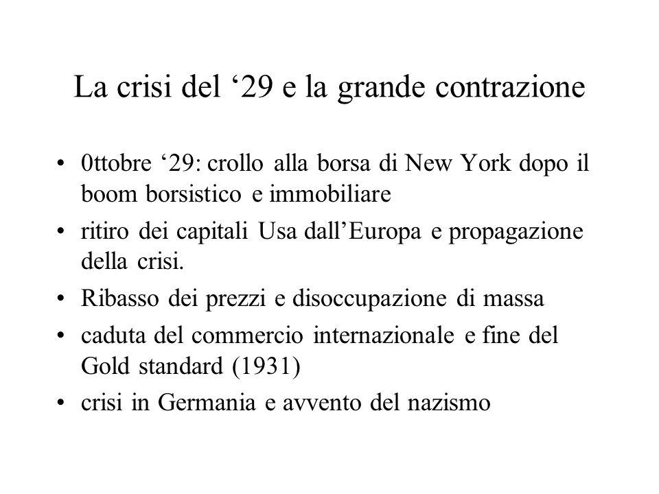 La crisi del '29 e la grande contrazione 0ttobre '29: crollo alla borsa di New York dopo il boom borsistico e immobiliare ritiro dei capitali Usa dall