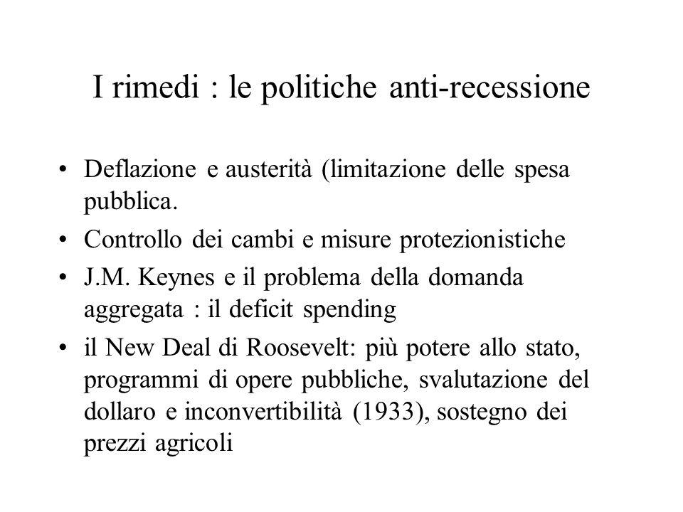 I rimedi : le politiche anti-recessione Deflazione e austerità (limitazione delle spesa pubblica. Controllo dei cambi e misure protezionistiche J.M. K