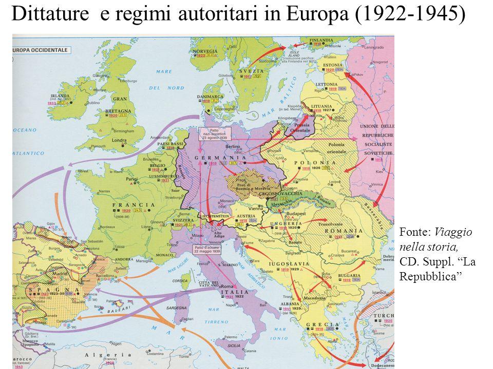 """Dittature e regimi autoritari in Europa (1922-1945) Fonte: Viaggio nella storia, CD. Suppl. """"La Repubblica"""""""