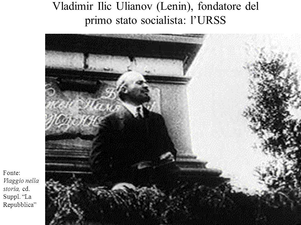 """Vladimir Ilic Ulianov (Lenin), fondatore del primo stato socialista: l'URSS Fonte: Viaggio nella storia, cd. Suppl. """"La Repubblica"""""""