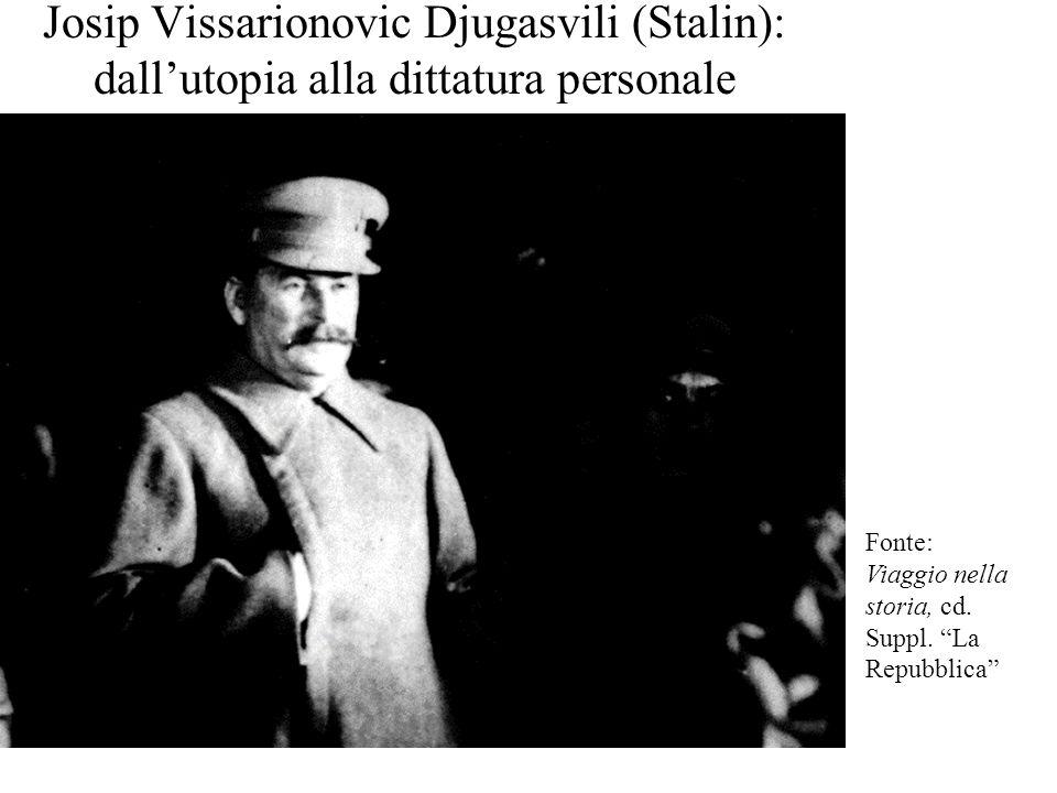 """Josip Vissarionovic Djugasvili (Stalin): dall'utopia alla dittatura personale Fonte: Viaggio nella storia, cd. Suppl. """"La Repubblica"""""""