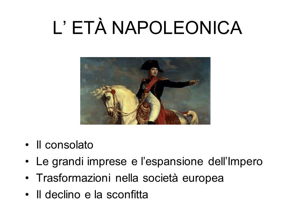 L' ETÀ NAPOLEONICA Il consolato Le grandi imprese e l'espansione dell'Impero Trasformazioni nella società europea Il declino e la sconfitta
