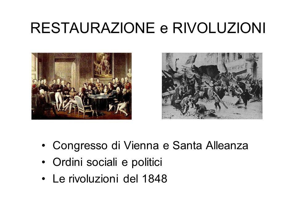 RESTAURAZIONE e RIVOLUZIONI Congresso di Vienna e Santa Alleanza Ordini sociali e politici Le rivoluzioni del 1848