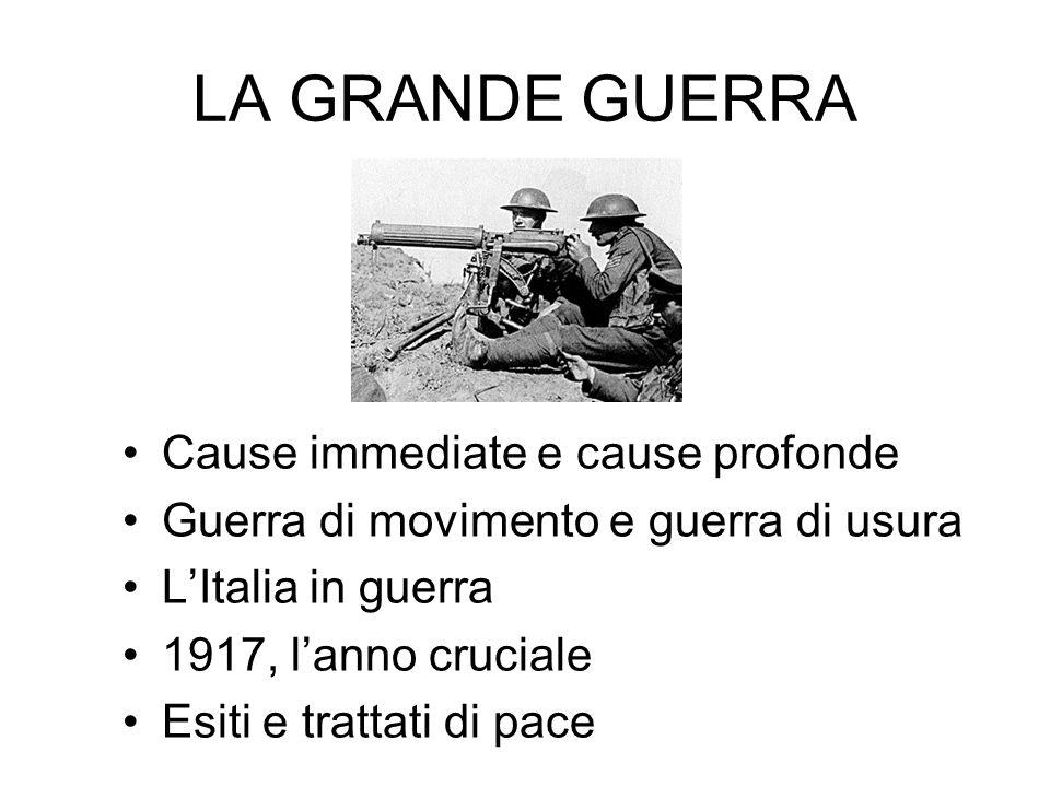 LA GRANDE GUERRA Cause immediate e cause profonde Guerra di movimento e guerra di usura L'Italia in guerra 1917, l'anno cruciale Esiti e trattati di pace