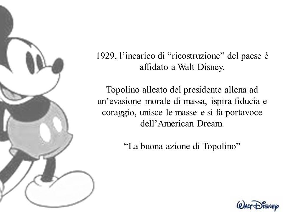 """1929, l'incarico di """"ricostruzione"""" del paese è affidato a Walt Disney. Topolino alleato del presidente allena ad un'evasione morale di massa, ispira"""