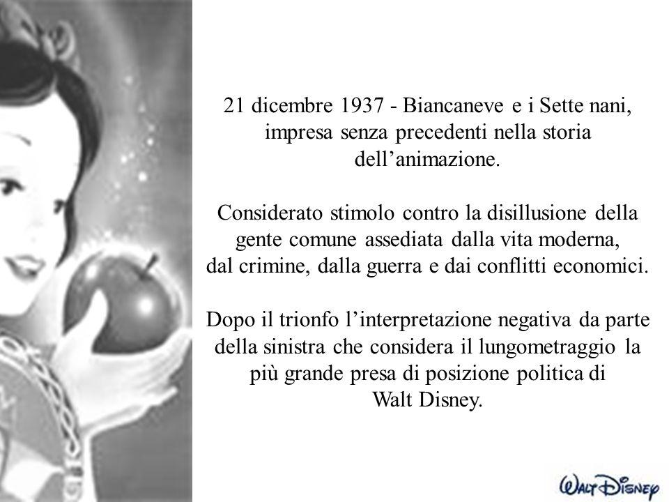 21 dicembre 1937 - Biancaneve e i Sette nani, impresa senza precedenti nella storia dell'animazione. Considerato stimolo contro la disillusione della