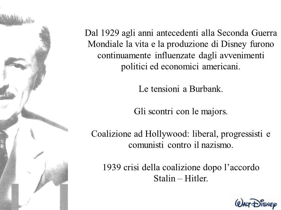 Dal 1929 agli anni antecedenti alla Seconda Guerra Mondiale la vita e la produzione di Disney furono continuamente influenzate dagli avvenimenti polit