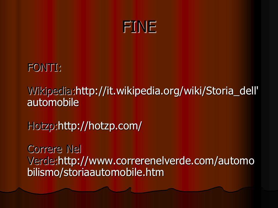 FINE FONTI: Wikipedia:http://it.wikipedia.org/wiki/Storia_dell automobile Hotzp:http://hotzp.com/ Correre Nel Verde:http://www.correrenelverde.com/automo bilismo/storiaautomobile.htm FONTI: Wikipedia:http://it.wikipedia.org/wiki/Storia_dell automobile Hotzp:http://hotzp.com/ Correre Nel Verde:http://www.correrenelverde.com/automo bilismo/storiaautomobile.htm