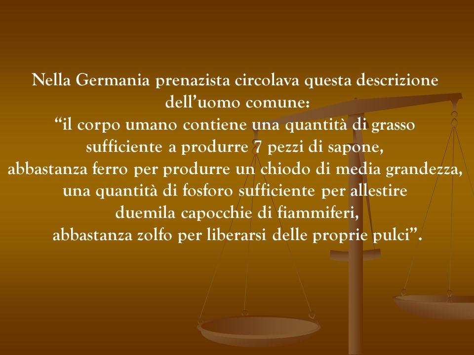 """Nella Germania prenazista circolava questa descrizione dell'uomo comune: """"il corpo umano contiene una quantità di grasso sufficiente a produrre 7 pezz"""