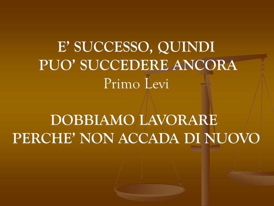 E' SUCCESSO, QUINDI PUO' SUCCEDERE ANCORA Primo Levi DOBBIAMO LAVORARE PERCHE' NON ACCADA DI NUOVO