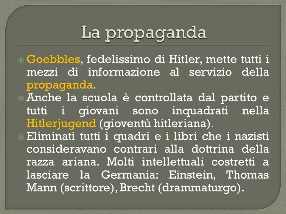  Goebbles, fedelissimo di Hitler, mette tutti i mezzi di informazione al servizio della propaganda.  Anche la scuola è controllata dal partito e tut