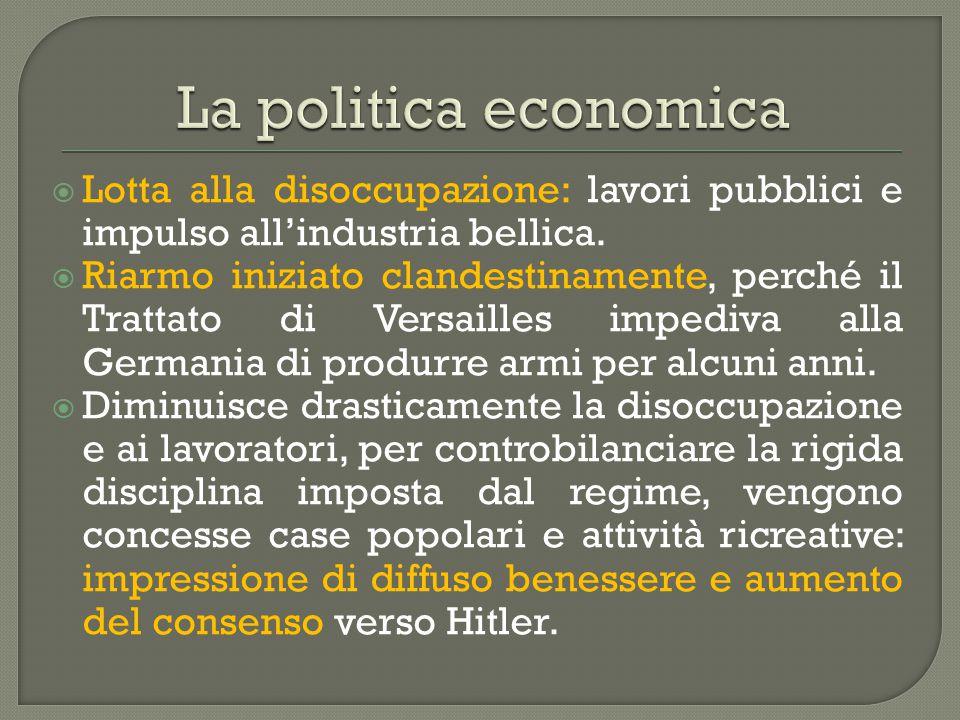  Lotta alla disoccupazione: lavori pubblici e impulso all'industria bellica.  Riarmo iniziato clandestinamente, perché il Trattato di Versailles imp