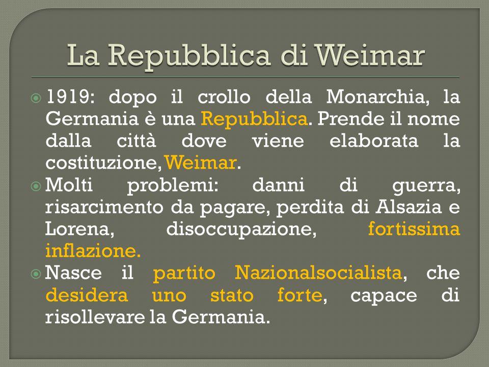  1919: dopo il crollo della Monarchia, la Germania è una Repubblica. Prende il nome dalla città dove viene elaborata la costituzione, Weimar.  Molti