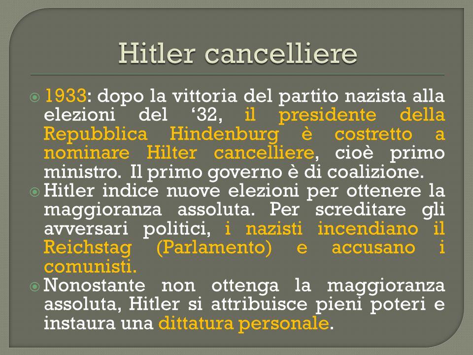  1933: dopo la vittoria del partito nazista alla elezioni del '32, il presidente della Repubblica Hindenburg è costretto a nominare Hilter cancellier