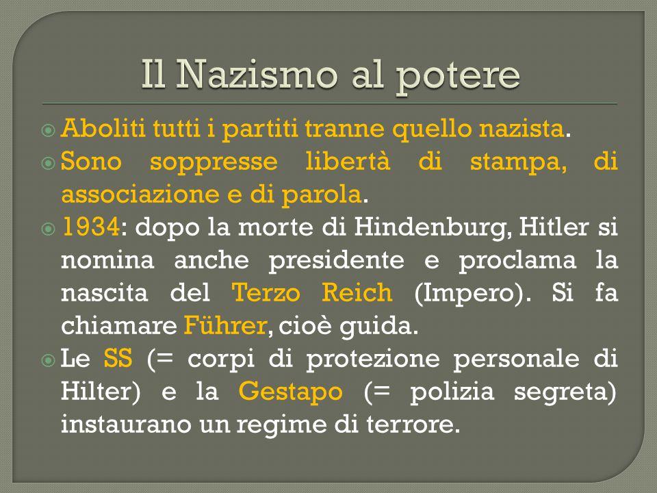  Aboliti tutti i partiti tranne quello nazista.  Sono soppresse libertà di stampa, di associazione e di parola.  1934: dopo la morte di Hindenburg,