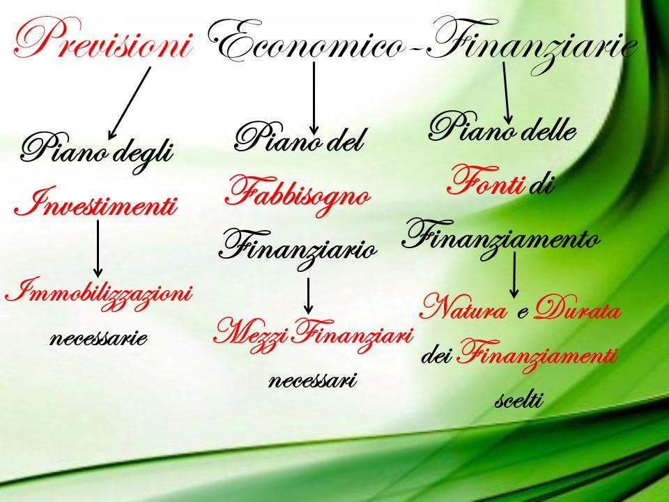 Previsioni Economico-Finanziarie Piano degli Investimenti Piano del Fabbisogno Finanziario Piano delle Fonti di Finanziamento Immobilizzazioni necessa