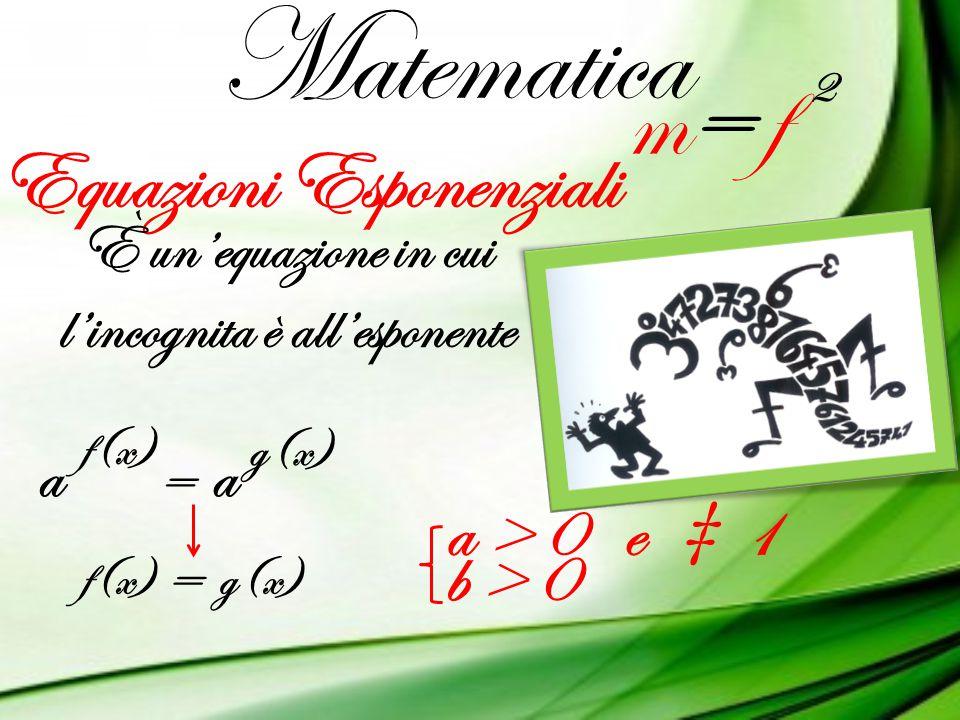 Matematica m= fm= f 2 Equazioni Esponenziali È un'equazione in cui l'incognita è all'esponente aa = f(x) g(x) f(x)g(x) = a > 0 e ‡ 1 b > 0