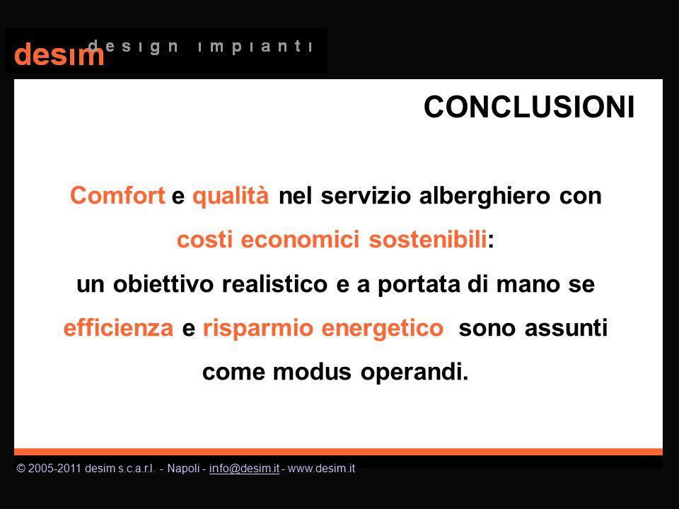 © 2005-2011 desim s.c.a.r.l. - Napoli - info@desim.it - www.desim.itinfo@desim.it CONCLUSIONI Comfort e qualità nel servizio alberghiero con costi eco
