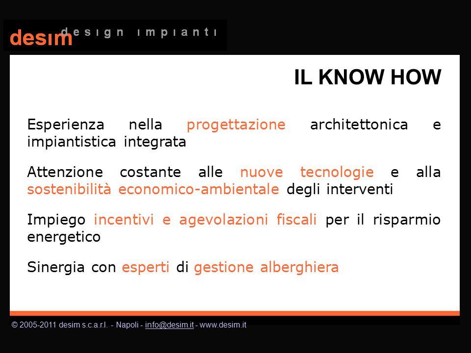 © 2005-2011 desim s.c.a.r.l. - Napoli - info@desim.it - www.desim.itinfo@desim.it IL KNOW HOW Esperienza nella progettazione architettonica e impianti