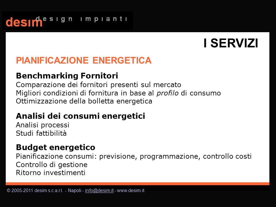 © 2005-2011 desim s.c.a.r.l. - Napoli - info@desim.it - www.desim.itinfo@desim.it PIANIFICAZIONE ENERGETICA Benchmarking Fornitori Comparazione dei fo