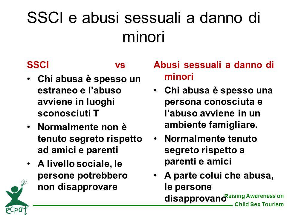 Raising Awareness on Child Sex Tourism SSCI e abusi sessuali a danno di minori Abusi sessuali a danno di minori Chi abusa è spesso una persona conosci
