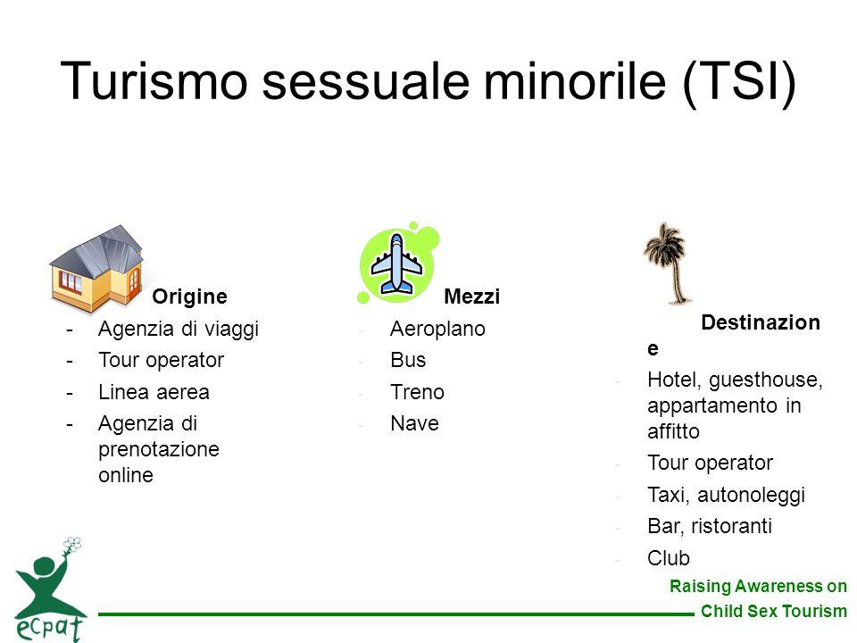 Raising Awareness on Child Sex Tourism Turismo sessuale minorile (TSI) Origine -Agenzia di viaggi -Tour operator -Linea aerea -Agenzia di prenotazione